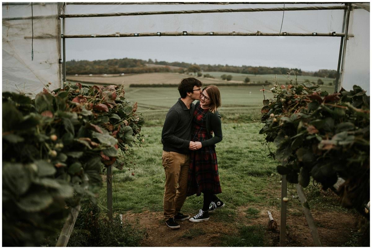Edinburgh pumpkin farm engagement photoshoot