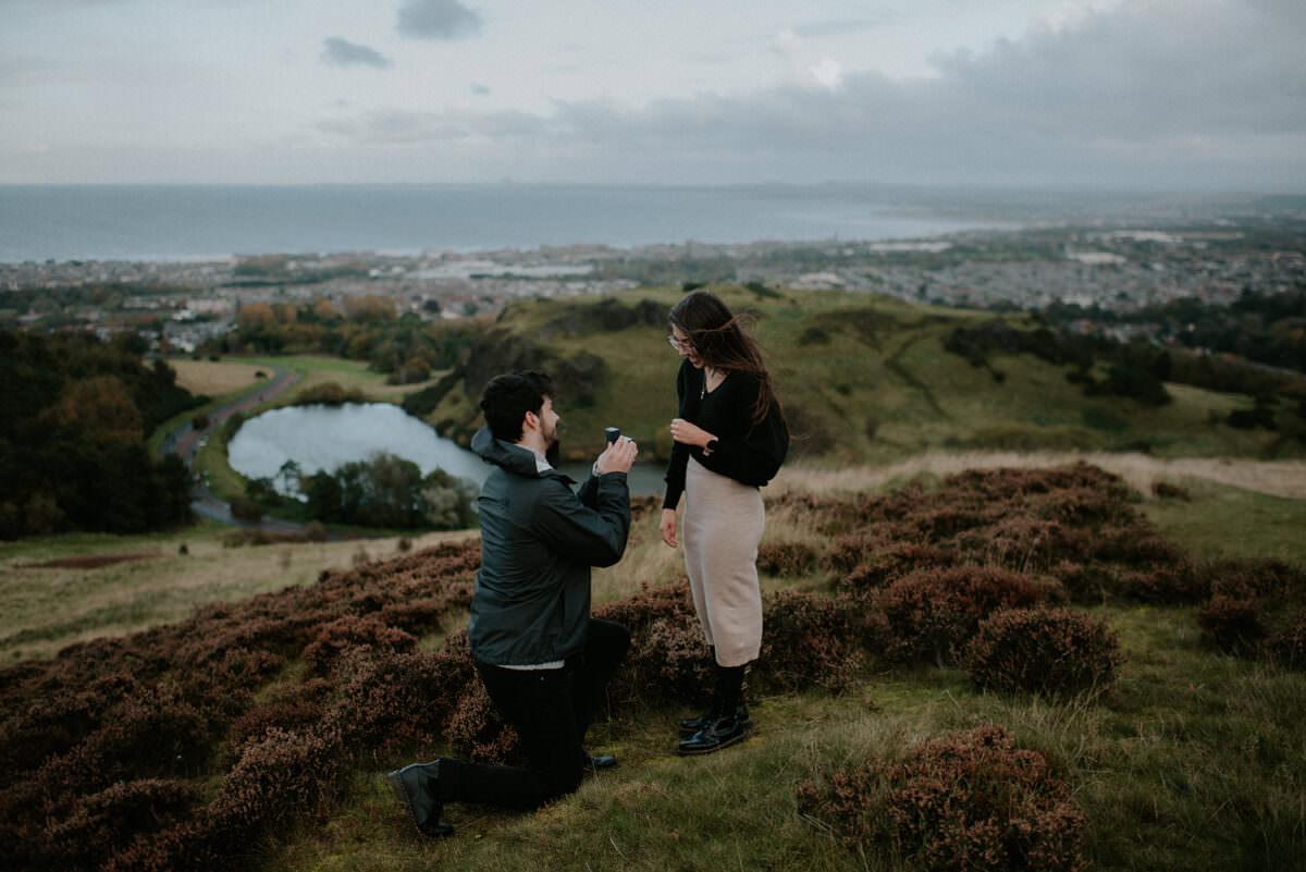 Arthur's Seat secret proposal photography in Edinburgh