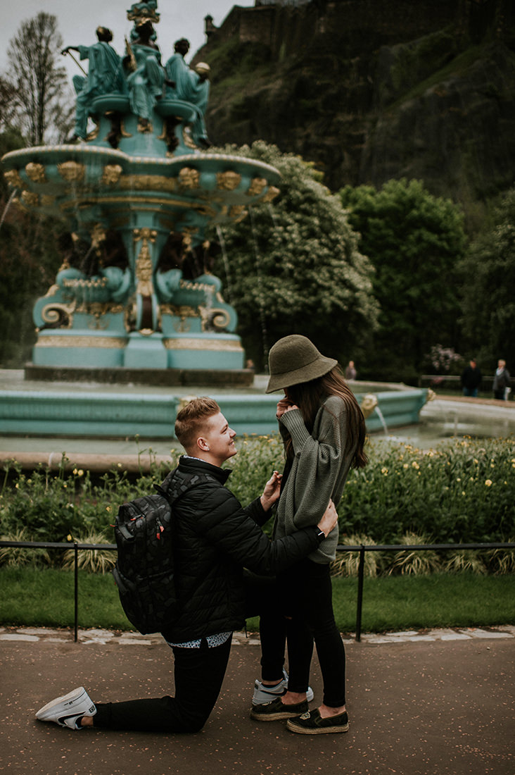 Secret proposal at Ross Fountain in Princes Street Gardens - Edinburgh wedding photographer