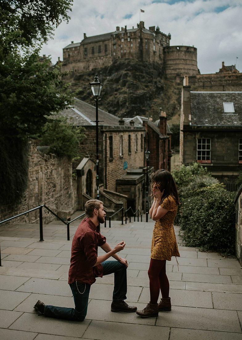 Secret proposal in Edinburgh Castle, Scotland