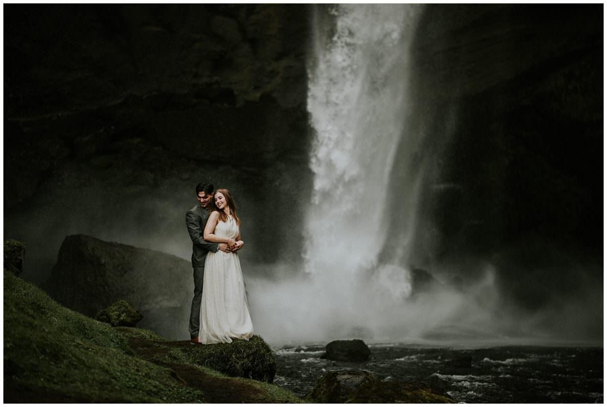Kvernufoss waterfall wedding session - Iceland wedding photographer