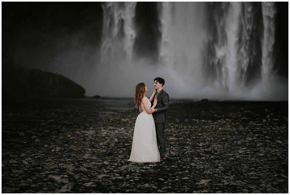 Skógafoss waterfall wedding photoshoot - Iceland elopement photographer