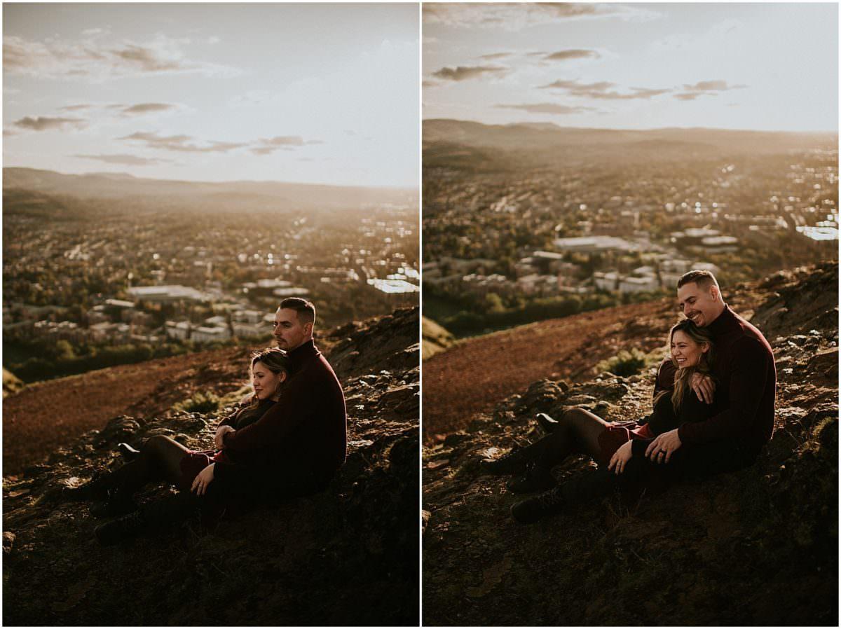 Holyrood Park engagement photo shoot Edinburgh - Scotland engagement photographer