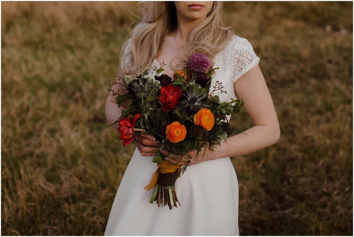 Scottish higlands elopement photography - Scotland wildflower wedding bouquet