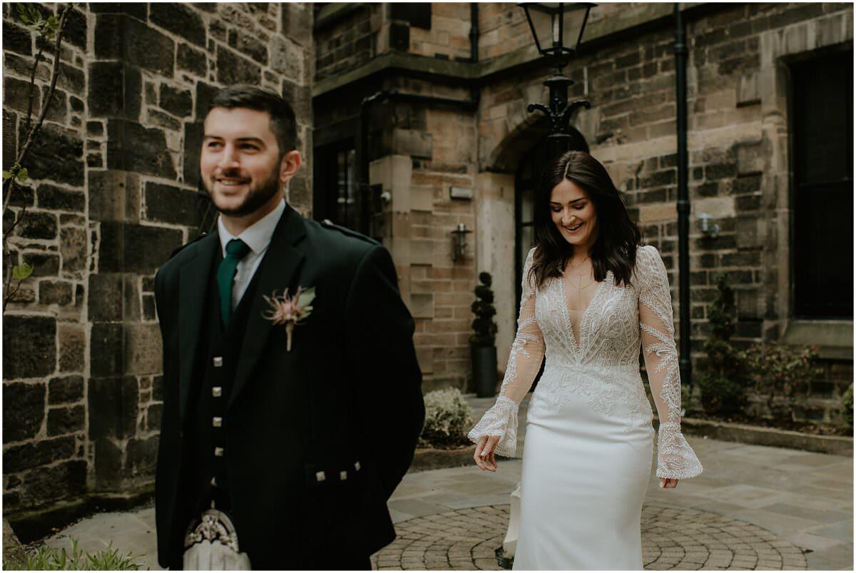 Edinburgh first look wedding photos - Edinburgh wedding photographer